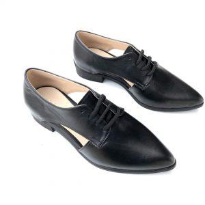 נעל אוקספורד עור שחור 2040