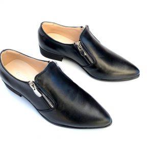 נעל עור 2 רוכסנים שחור 2030