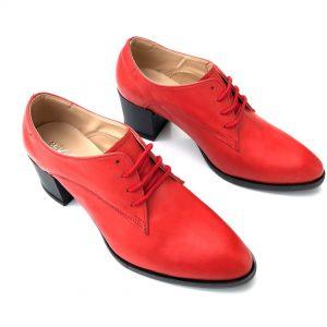 נעל עקב שרוך עור אדום 5020
