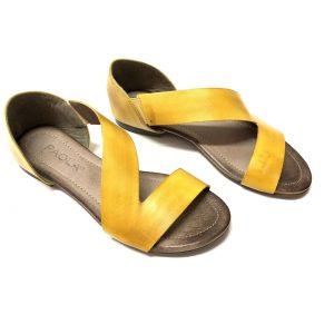 סנדל עור רצועה אלכסונית צהוב 8050