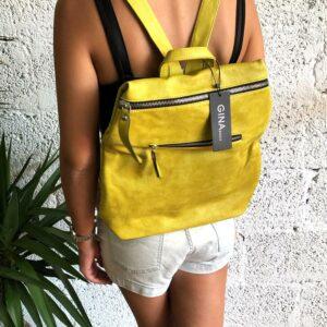דגם ספיר : תיק גב בצבע צהוב