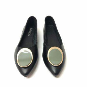 דגם 5618 : נעלי בובה מעור בצבע שחור