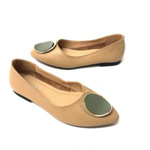 דגם 5618 : נעלי בובה מעור בצבע בז